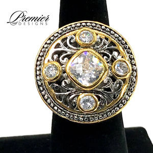 """Vintage Ring """"Legacy"""" Premier 2 Tone Sterling Silver Gold Tone Size 11"""